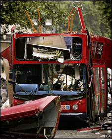 Bus in Tavistock Square destroyed by bomb, 7 July 2005