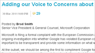 Screengrab of blog outlining Microsoft complaint against Google