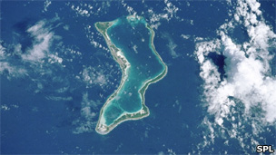 Diego Garcia coral atoll, in the central Indian Ocean