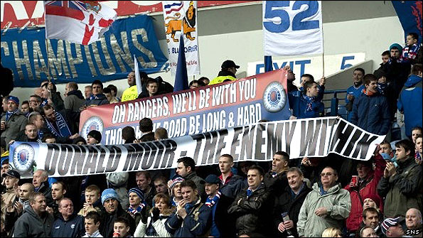 Rangers fans protest about the running of their club