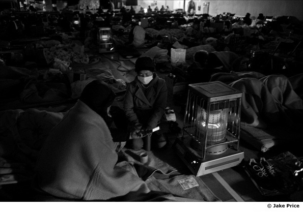 People in a temporary shelter