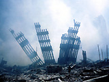 Remains of the World Trade Centre following the terrorist attacks of September 11th 2001.