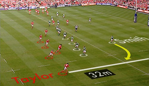 Rugby footage enhanced by Piero generated graphics showing distances and moves.