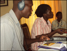 BBC World Service Trust trainee journalists in Sudan planning ahead of their broadcast on BBC World Service