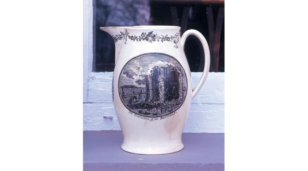 A commemorative jug celebrating the Fall of the Bastille  in 1789. Copyright Newtownabbey Borough Council.
