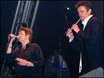 The Pogues performing on stage