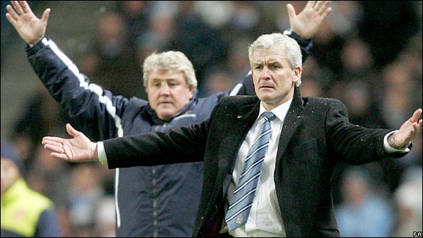 Mark Hughes remonstrates during the win over Sunderland