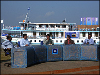 Panel of Bangladesh politicians in front of BBC boat