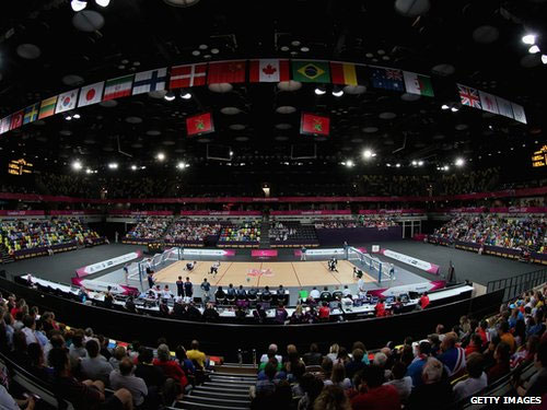 A general view of goalball at the Copper Box