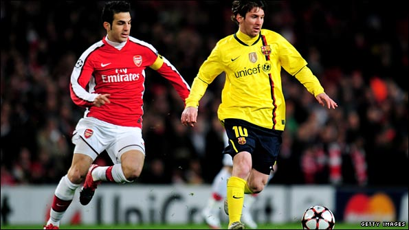Cesc Fabregas and Barca star Lionel Messi