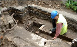 Picture: Archeologist exams foundations at Greyfriars Tower in King's Lynn
