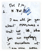 Handwritten text from part of a memo to production staff from the Head of Television Programmes