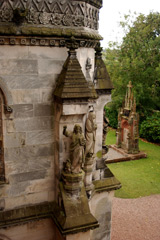 Outside corner of Rosslyn Chapel with carvings of angels