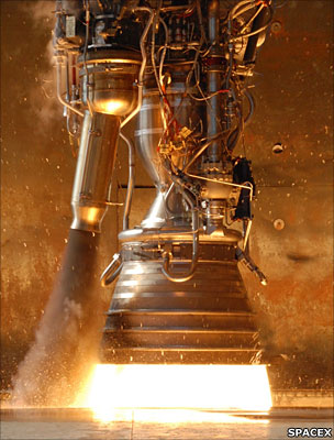 The Falcon rocket's Merlin engine under test