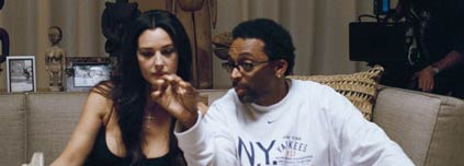 Spike Lee on the set of She Hate Me, with Monica Bellucci