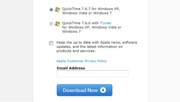 QuickTime step 1 – Click the 'Download Now' button
