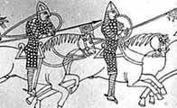 Black and white illustration showing a section of the Bayeux Tapestry