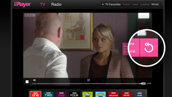 BBC iPlayer showing BBC One live - but near the end of EastEnders. The rewind button is highlighted.