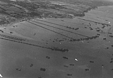 Aerial view of the Mulberry Harbour at Arromanches