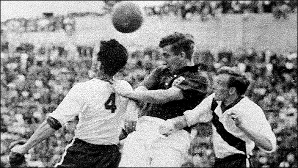 Action from England v US in 1950