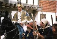 Reconstruction showing Richard II riding to Smithfield