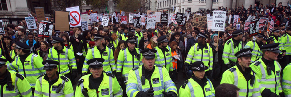 Police at the student fees protest march in London