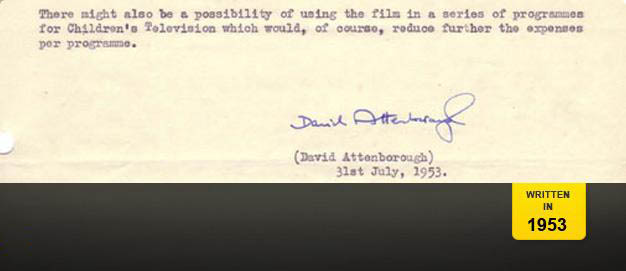 A memo from David Attenborough proposing a new natural history series.