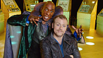 More spaced out comedy with Rufus (Rufus Hound, right) and Doctor Mu (Colin McFarlane)
