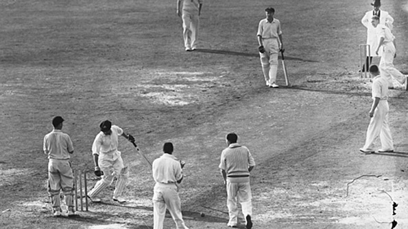 Don Bradman is out for a duck in his final Test. Arthur Morris was batting at the other end