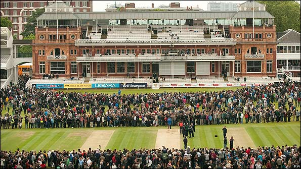 Spectators on the outfield at Lord's