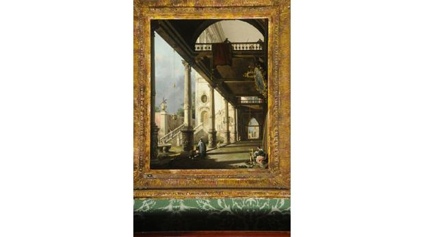 Capriccio: A Colonnade Opening into the Courtyard of a Palace' by Giovanni Antonio Canal (Canaletto). Copyright BMBC.
