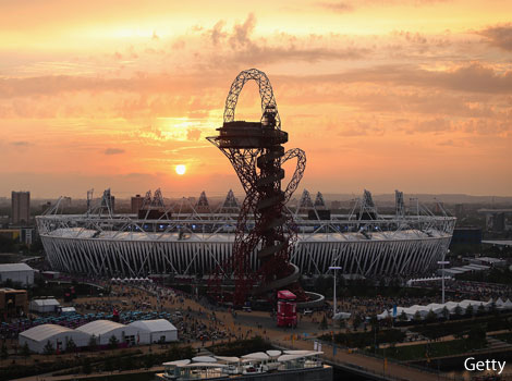 The sun sets over the Olympic park for the final time during London 2012.