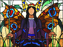 Angel of Purity stained glass at Victoria Baths