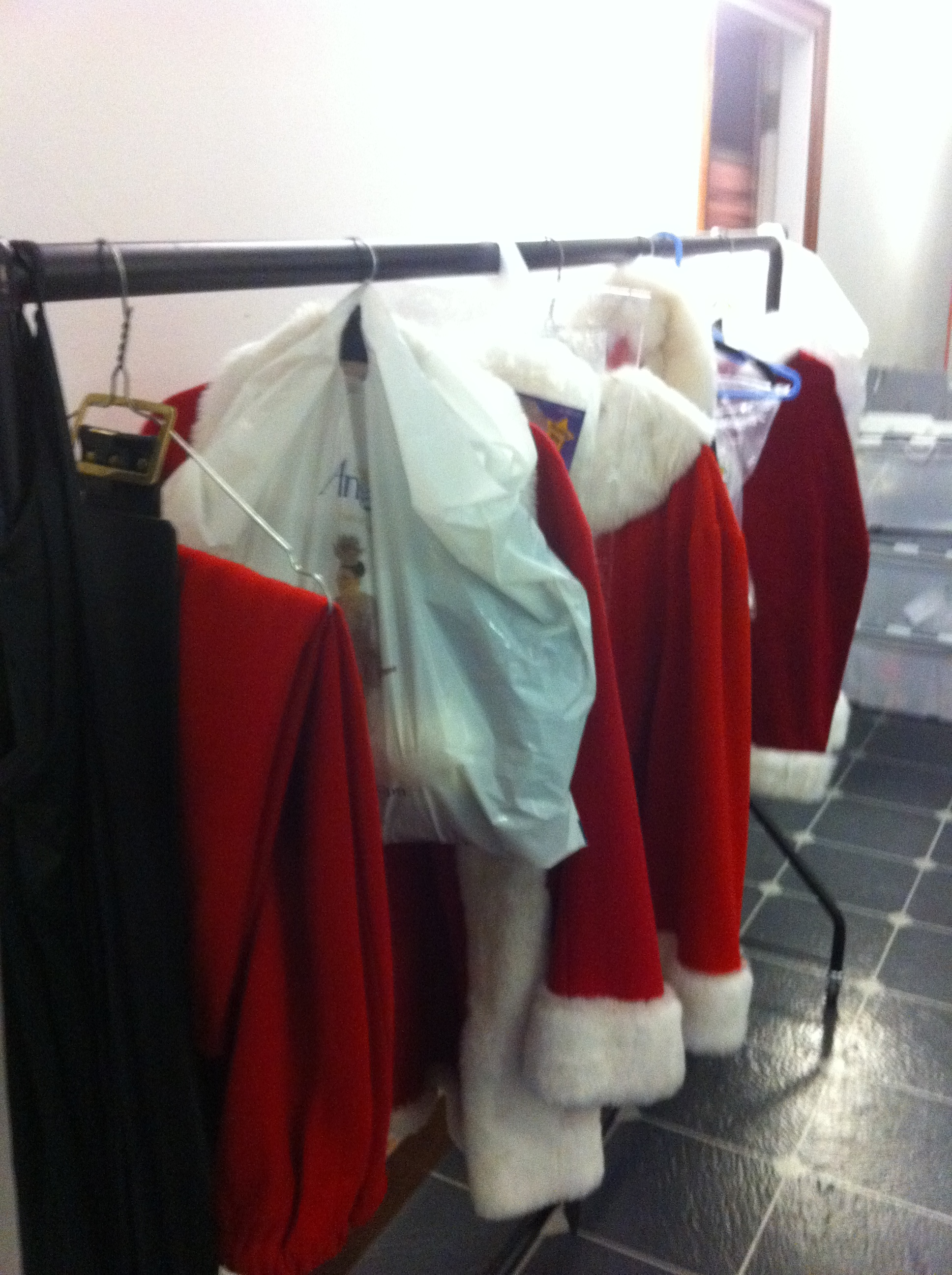 Santa costumes backstage at Strictly