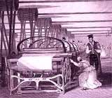 Image of a power loom weaving in Lancashire, 1835