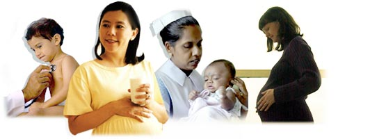 Image of mothers and health workers