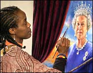 The artist Chinwe Chukwuogo-Roy painting the portrait of Her Majesty Queen Elizabeth II.