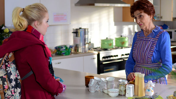 Lorna Fitzgerald as Abi Branning and June Brown as Dot Cotton