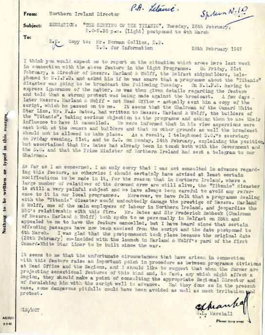 A letter questioning the broadcast of a controversial play.
