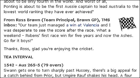 Ross Brawn's email to the BBC Sport website's live text commentary of the final Ashes Test