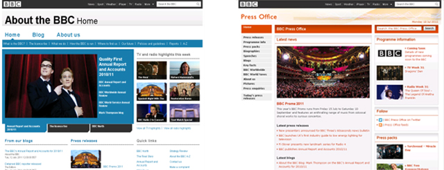 The old homepages for the About the BBC and BBC Press Office websites