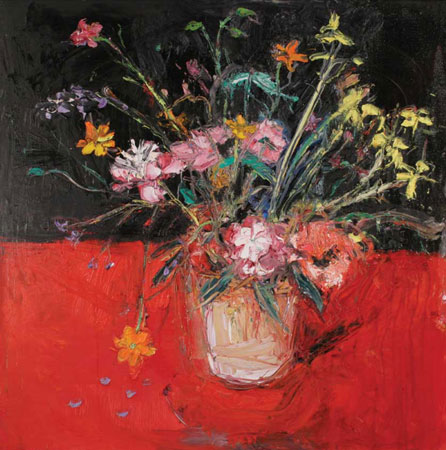 Shani Rhys James' Peonies II. Image courtesy of the artist and provided by Martin Tinney Gallery, Cardiff, www.artwales.com