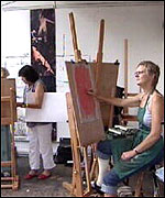 Artists painting at easels