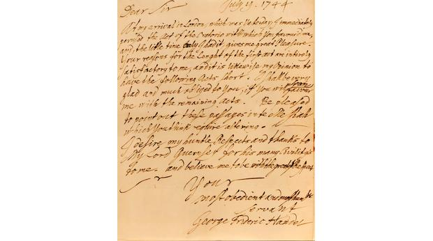 Letter from George Frideric Handel