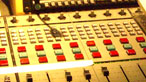 A mixing desk in a radio studio