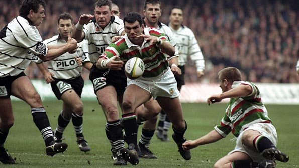 Martin Johnson in action for Leicester Tigers early on in his career