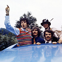 The Beatles in a bus