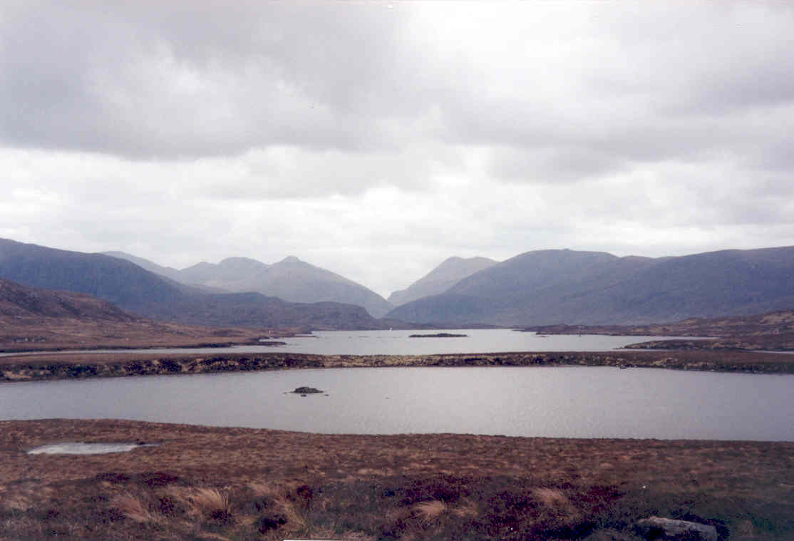 Loch Coire Geurad and Loch Langabhat, looking out to the Harris Hills