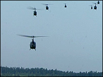 Military helicopters on exercise