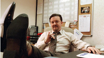 The classic shot of the man, David Brent